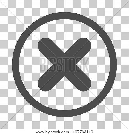 Cancel rounded icon. Vector illustration style is flat iconic symbol inside a circle, gray color, transparent background. Designed for web and software interfaces.