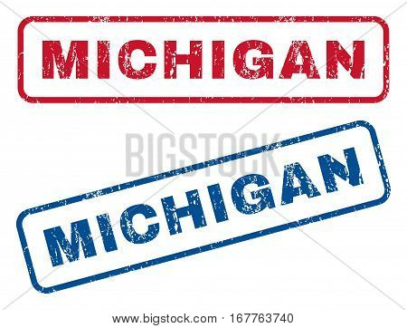 Michigan text rubber seal stamp watermarks. Vector style is blue and red ink caption inside rounded rectangular shape. Grunge design and dirty texture. Blue and red signs.