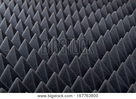 Acoustic absorbing foam for studio recording. Pyramid shape.