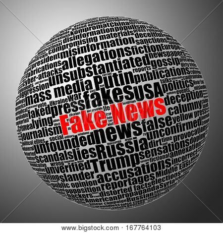 Fake news sphere tag cloud. Black and white stock illustration with selective red color effect.