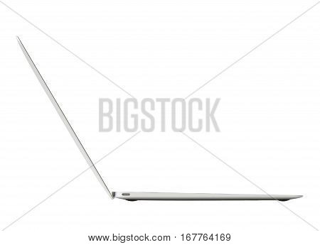 Ultra thin laptop computer side view on white