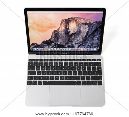 RIGA LATVIA - December 29 2016: 12-inch Macbook laptop computer with retina display.