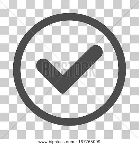Yes rounded icon. Vector illustration style is flat iconic symbol inside a circle, gray color, transparent background. Designed for web and software interfaces.