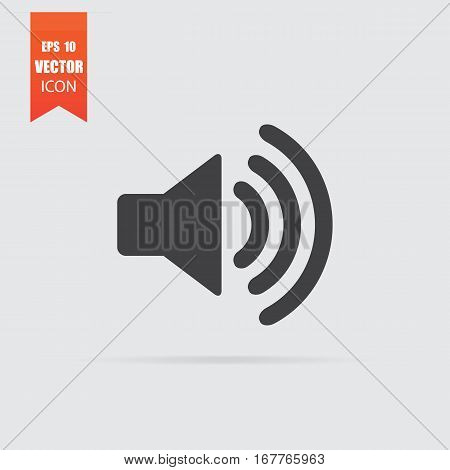 Volume Icon In Flat Style Isolated On Grey Background.