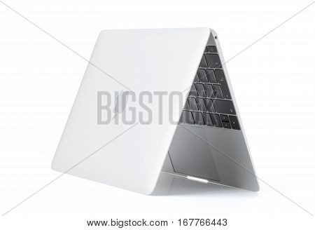 RIGA LATVIA - December 29 2016: 12-inch Macbook laptop computer isolated on white.