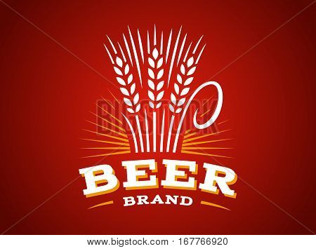 Beer wheat logo - vector illustration, ear emblem design on red background