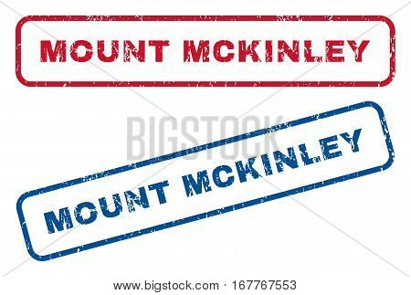 Mount Mckinley text rubber seal stamp watermarks. Vector style is blue and red ink tag inside rounded rectangular shape. Grunge design and dust texture. Blue and red signs.