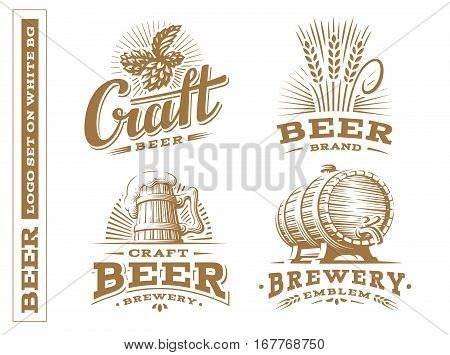 Set beer logo - vector illustration, emblem brewery, design on white background