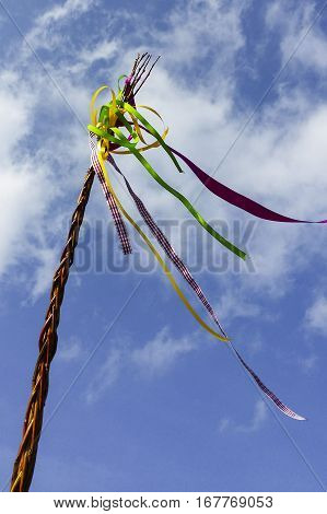 The symbol of the czech Easter tradion. Plaited twigs with colourful ribbons.