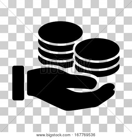 Salary Hand icon. Vector illustration style is flat iconic symbol, black color, transparent background. Designed for web and software interfaces.