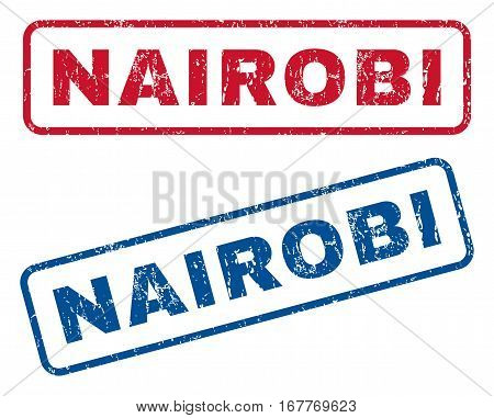 Nairobi text rubber seal stamp watermarks. Vector style is blue and red ink tag inside rounded rectangular banner. Grunge design and dirty texture. Blue and red emblems.