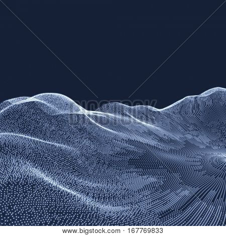 Landscape Background. Terrain. Cyberspace Grid. 3D Technology Vector Illustration.