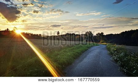 The path between fields during the sundown. The big ray of light.
