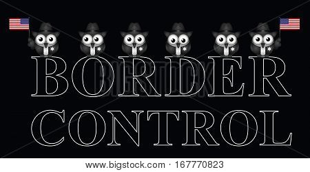 Representation of USA border control with custom officials isolated on black background