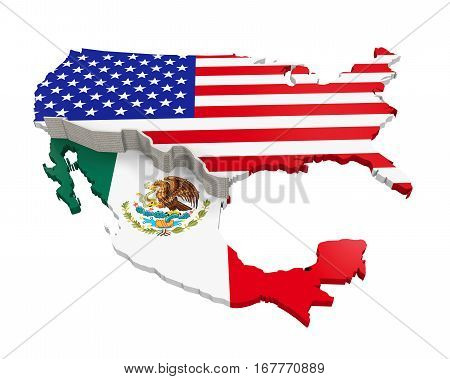 Border Wall Between America and Mexico Illustration. 3D render
