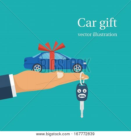 Car gift concept. Man holding in hand on palm auto with red ribbon. Vector illustration flat design. Best offer cars for sale rent template. Isolated on background. Presentation show vehicle.