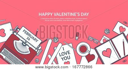 Love and heart. Lined vector illustration. Flat background with typewriter. Hearts. Valentines day. Be my valentine. 14 february. Message.