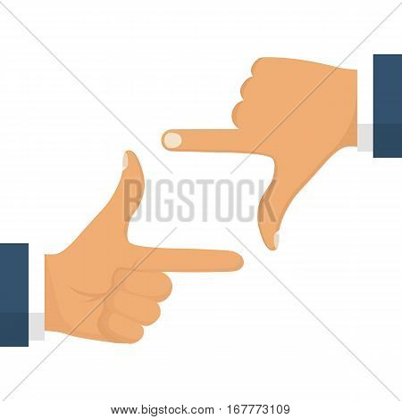Hand frame isolated on white background. Vector illustration flat design. Two hands making gesture border frame. Space for the image, object, text. Showing photo.