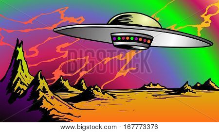 Flying Saucer over a bizarre landscape in weird colors