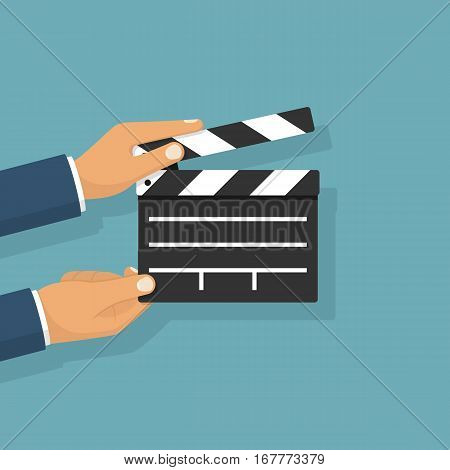 Movie clapper board hold in hand man. Isolated on background. Open clapperboard. Cinematography concept. Template for the director's instructions, the producer. Vector illustration flat design.