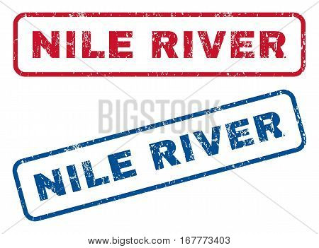 Nile River text rubber seal stamp watermarks. Vector style is blue and red ink tag inside rounded rectangular banner. Grunge design and unclean texture. Blue and red stickers.