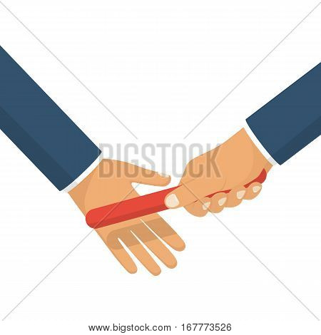 Teamwork concept. Two businessman passed from hand to hand relay baton. Vector illustration flat style design. Cooperation, partnership. Symbol of working together. Business metaphor. Collaboration.
