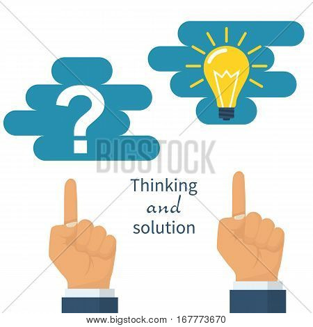 Thinking and solution concept. Man pointing finger to the question in cloud. Successful solution of problem, lamp symbol. Problem solving. Vector illustration flat design. Isolated on white background