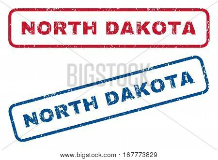 North Dakota text rubber seal stamp watermarks. Vector style is blue and red ink tag inside rounded rectangular banner. Grunge design and scratched texture. Blue and red emblems.