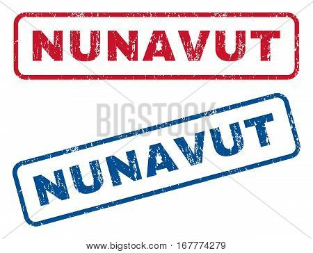 Nunavut text rubber seal stamp watermarks. Vector style is blue and red ink tag inside rounded rectangular banner. Grunge design and scratched texture. Blue and red stickers.