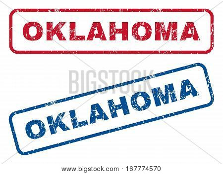 Oklahoma text rubber seal stamp watermarks. Vector style is blue and red ink tag inside rounded rectangular banner. Grunge design and dirty texture. Blue and red emblems.