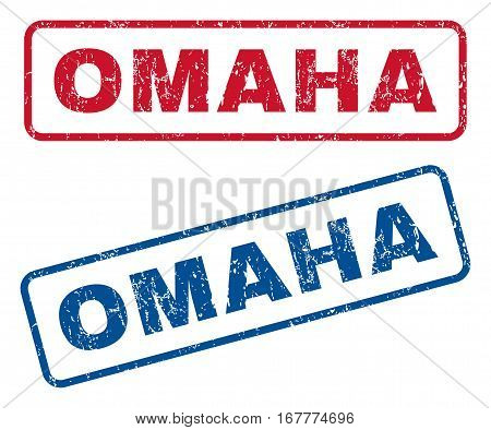 Omaha text rubber seal stamp watermarks. Vector style is blue and red ink tag inside rounded rectangular shape. Grunge design and dust texture. Blue and red stickers.
