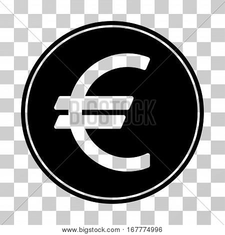 Euro Coin icon. Vector illustration style is flat iconic symbol, black color, transparent background. Designed for web and software interfaces.