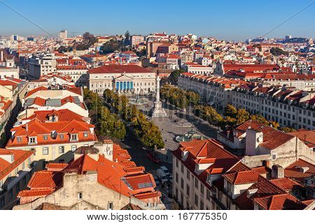 View from above on Rossio Square an red roofs in Lisbon, Portugal.