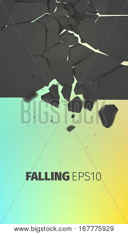 Falling stones vector banner. Cracked black rock explode background