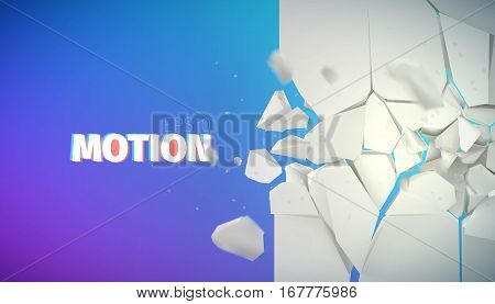 flying rock pieces banner. Motion collapse vector illustration