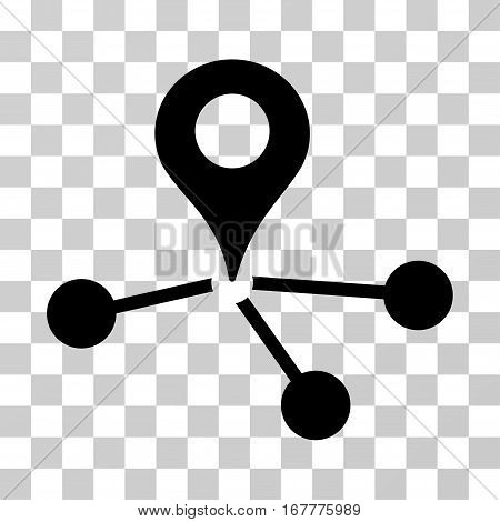 Map Marker Network icon. Vector illustration style is flat iconic symbol, black color, transparent background. Designed for web and software interfaces.