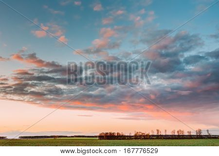 Natural Sunset Sunrise Over Field Or Meadow. Bright Dramatic Sky Over Green Ground. Countryside Landscape Under Scenic Colorful Sky At Sunset Dawn Sunrise. Skyline, Horizon.