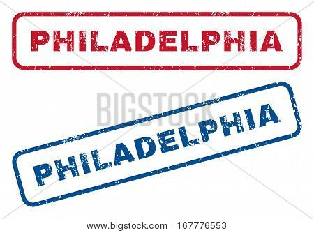 Philadelphia text rubber seal stamp watermarks. Vector style is blue and red ink caption inside rounded rectangular banner. Grunge design and dust texture. Blue and red signs.