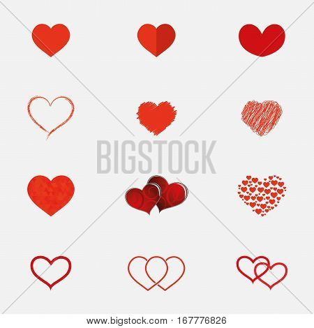 Set of hearts icons in different styles