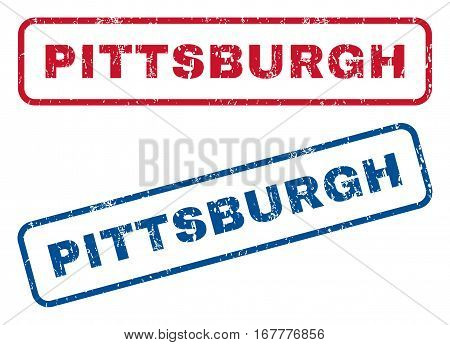 Pittsburgh text rubber seal stamp watermarks. Vector style is blue and red ink tag inside rounded rectangular banner. Grunge design and dirty texture. Blue and red signs.