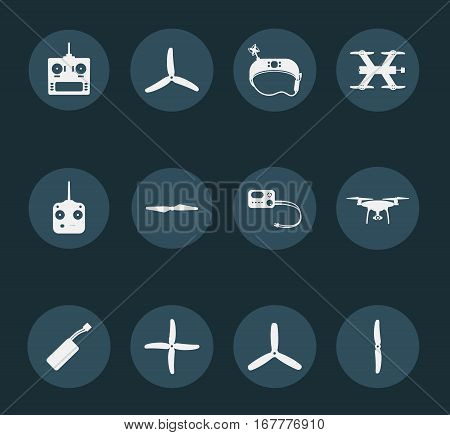 Set of  white quadrocopters icons on blue background.
