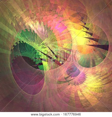 Square shaped pattern which is a synthesis of nature and technology. Fractal art.