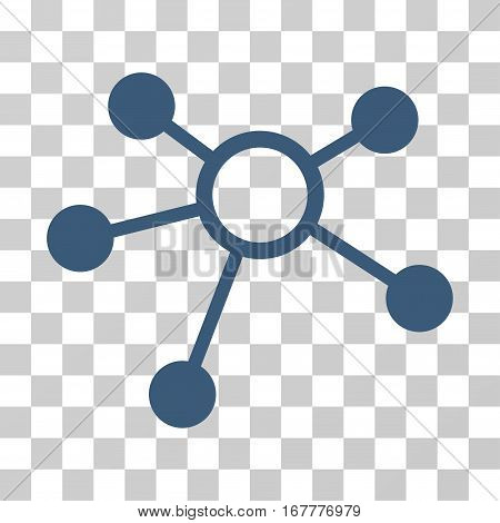 Connections icon. Vector illustration style is flat iconic symbol, blue color, transparent background. Designed for web and software interfaces.