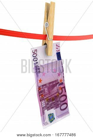 Legalization of funds (money laundering). Banknote of european currency is drying on red clothesline. Concept of money laundering. Isolated. 3D Illustration