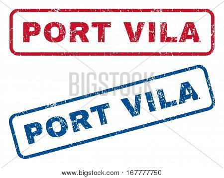 Port Vila text rubber seal stamp watermarks. Vector style is blue and red ink caption inside rounded rectangular banner. Grunge design and dust texture. Blue and red signs.