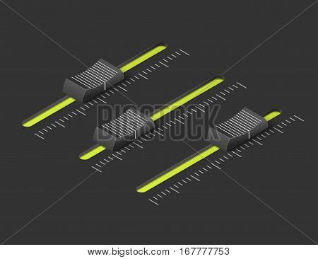 Music mixer equalizer control panel. Dj console. Black slider buttons. Isometric vector illustration