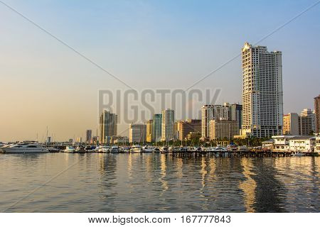 Cityscape Bay in Manila, Luzon Island in the Philippines
