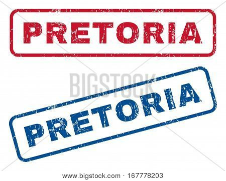 Pretoria text rubber seal stamp watermarks. Vector style is blue and red ink caption inside rounded rectangular shape. Grunge design and scratched texture. Blue and red signs.