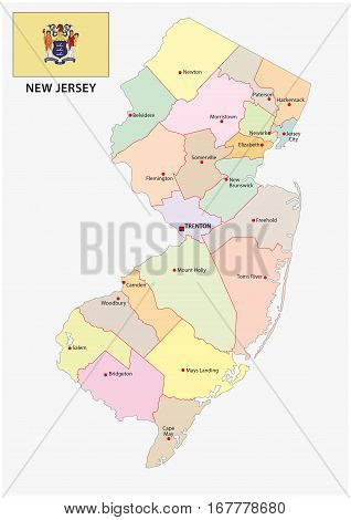 new jersey administrative and political vector map with flag
