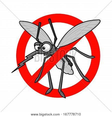 Vector illustration of flying cartoon mosquitoes in a red crossed out circle.